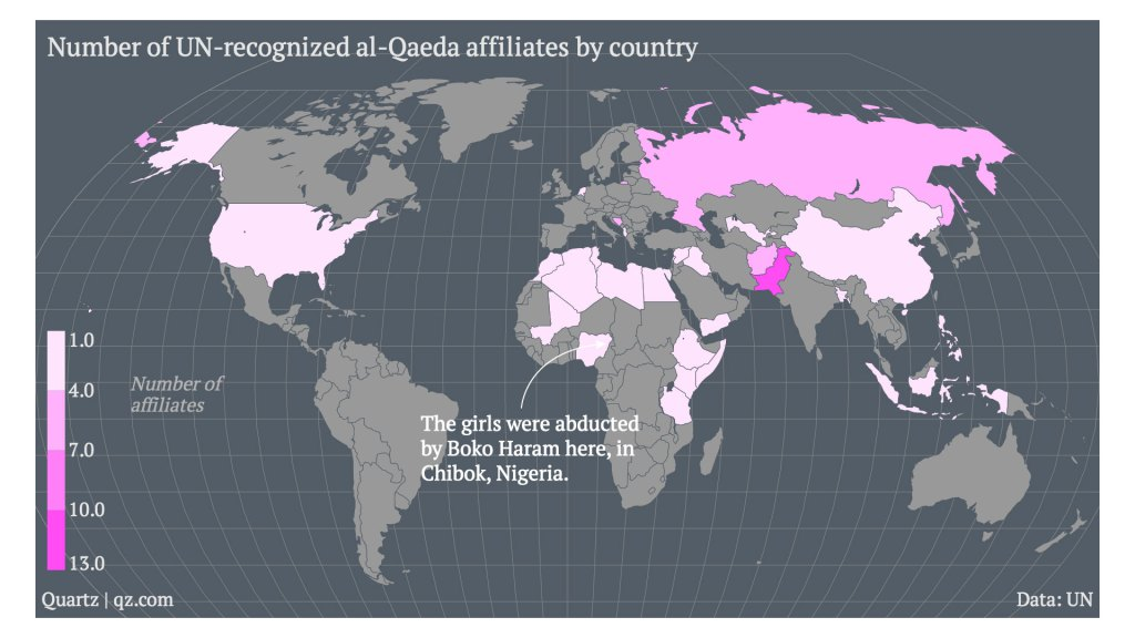 A Map of All the Countries That Now Have Al-Qaeda Affiliated Terrorist Groups